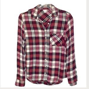 Aeropostale Wine n black plaid Flannel Shirt S